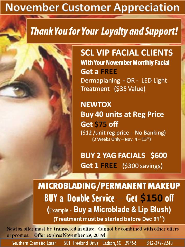 November 2019 Specials Charleston Monthly Specials at Southern Cosmetic Laser