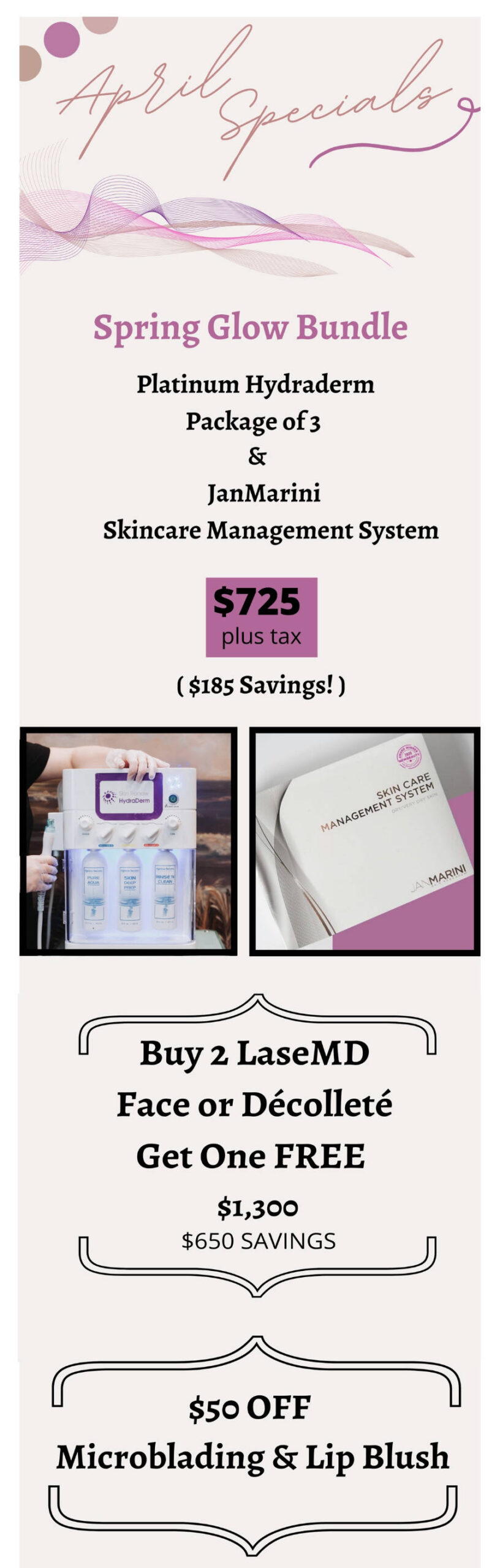 April Special and JanMarini Event Charleston Southern Cosmetic Laser